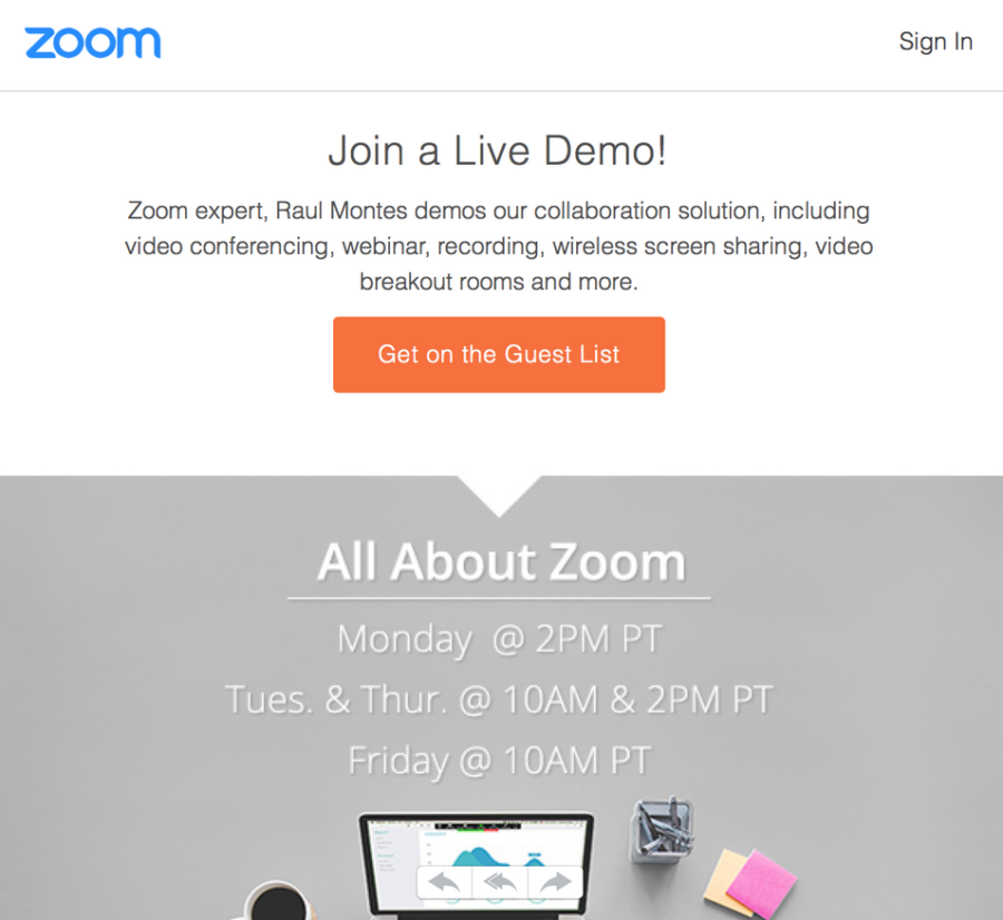 zoom call to action example