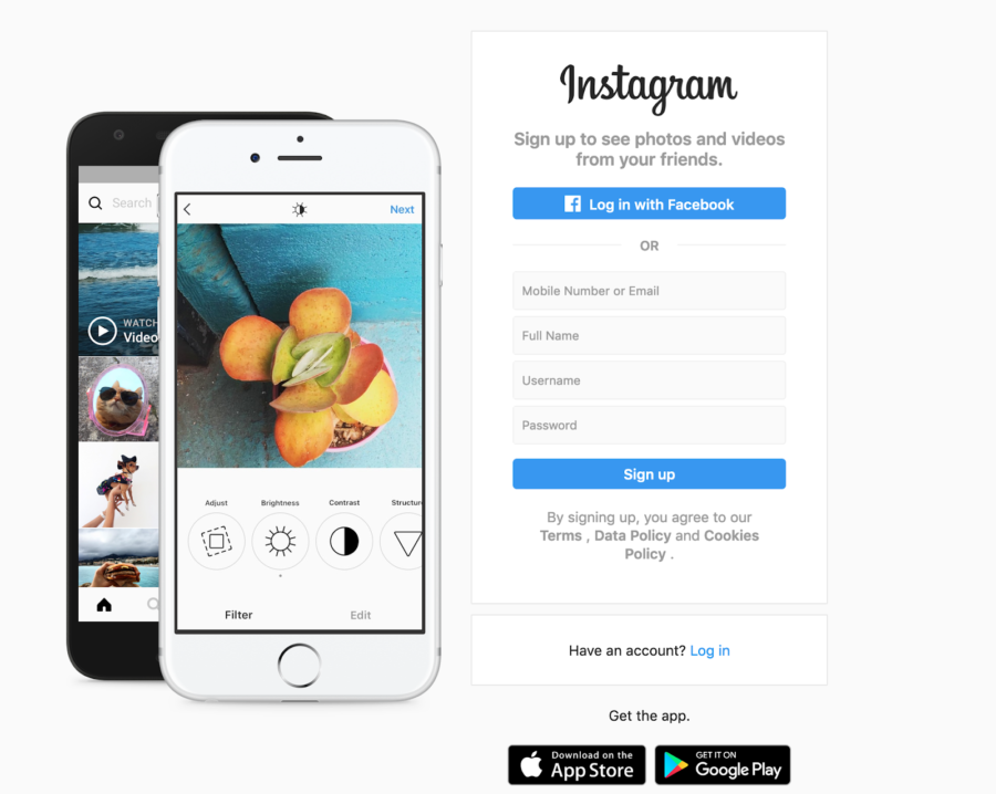 instagram signup page