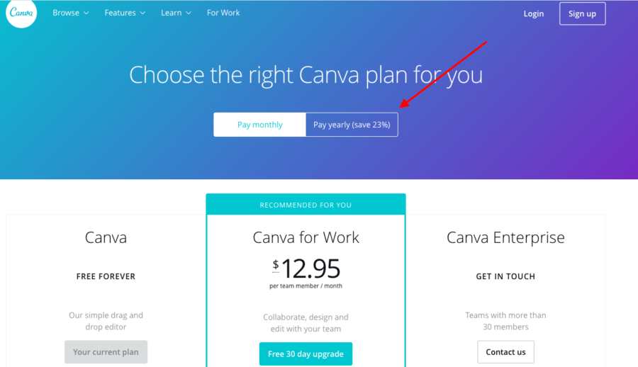 canva-pricing-page