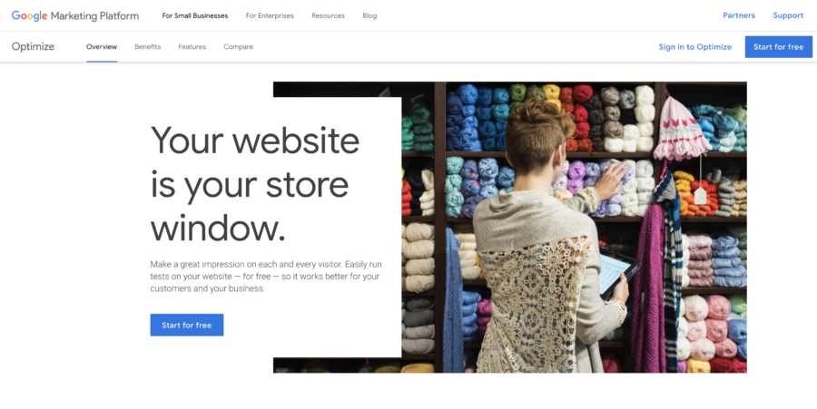 Google Optimize Website Personalization Tools
