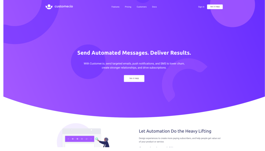 Customer.io home page