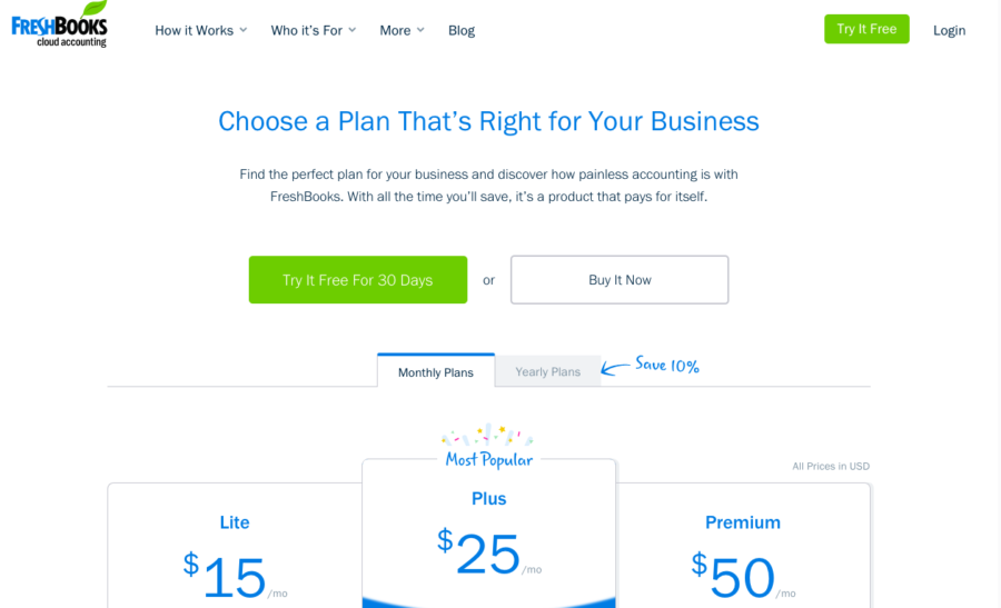 freshbooks-pricing-page