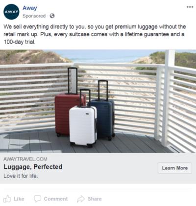 Away facebook ad